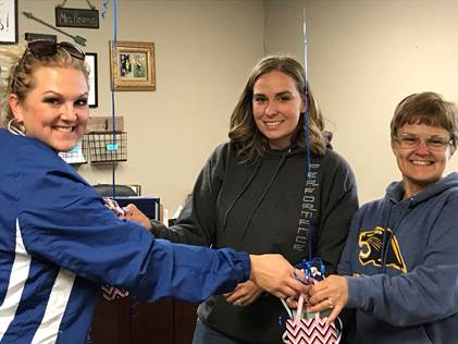 North Lamar ESL Coordinator Kortney Melton congratulates Bailey 5th grade Social Studies and Reading/Language Arts teachers  Angelia Kennedy  and  Kim Lacey  on passing their ESL certifications.