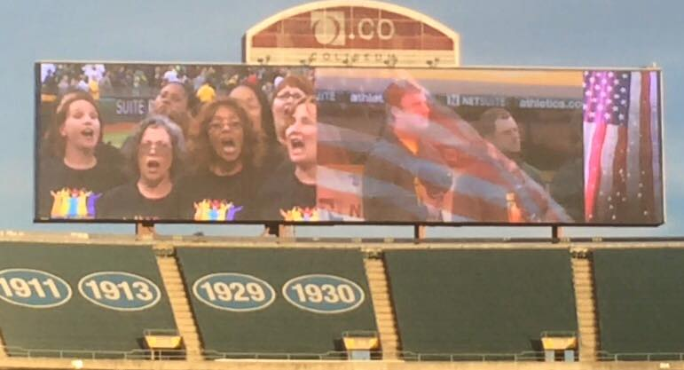 Singing the National Anthem at an A's game with OIGC.
