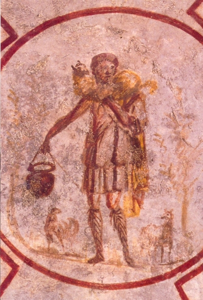 Early Roman image of Jesus as a good shepherd.