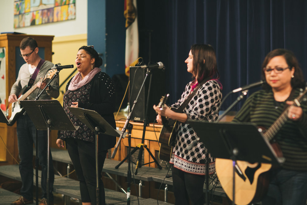 Haven singers and musicians leading the community in musical worship.