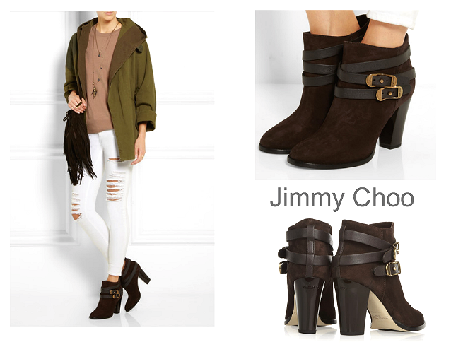 JIMMY CHOO melba buckled suede ankle boots $995