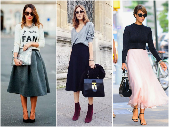 Midi Skirt Styled with Sweaters