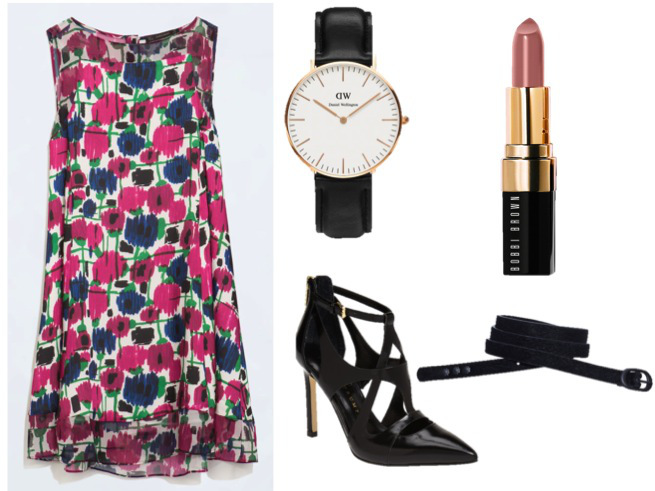 Zara Dress- $79.90  Ivanka Trump Heels-$149.95 Scotch&Soda Skinny Belt-$29 Daniel Wellington Classic Sheffield Lady- $199 Bobbi Brown Lipstick-$26.00