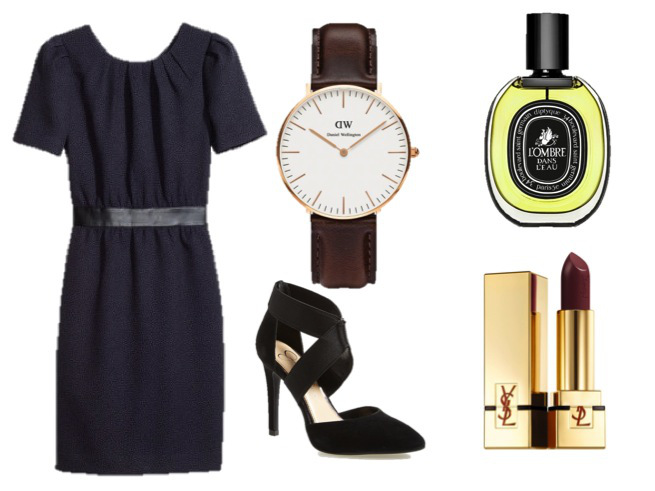 H&M Dress-$49.95 Jessica Simpson Pump-$88.95   Daniel Wellington Watch-$199.00   Diptyque L'Ombre dans l'ea-$140.00 YSL Lipstick 'Rouge Pur Couture'-$35.00
