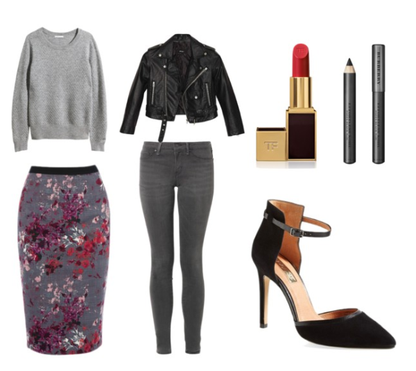 Sweater $69.95 Skirt $64 Leather Jacket $88 Jeans $198 Lipstick $50 Eyeliner $30 Pumps $99.95