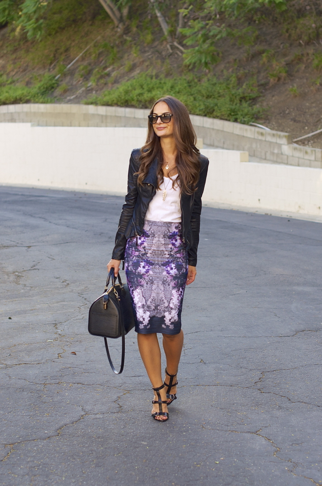 Leather Jacket BLANKNYC // Print Skirt (similar) (similar) // Heels Prada (similar) // Bag LV (similar) // Necklace (similar)