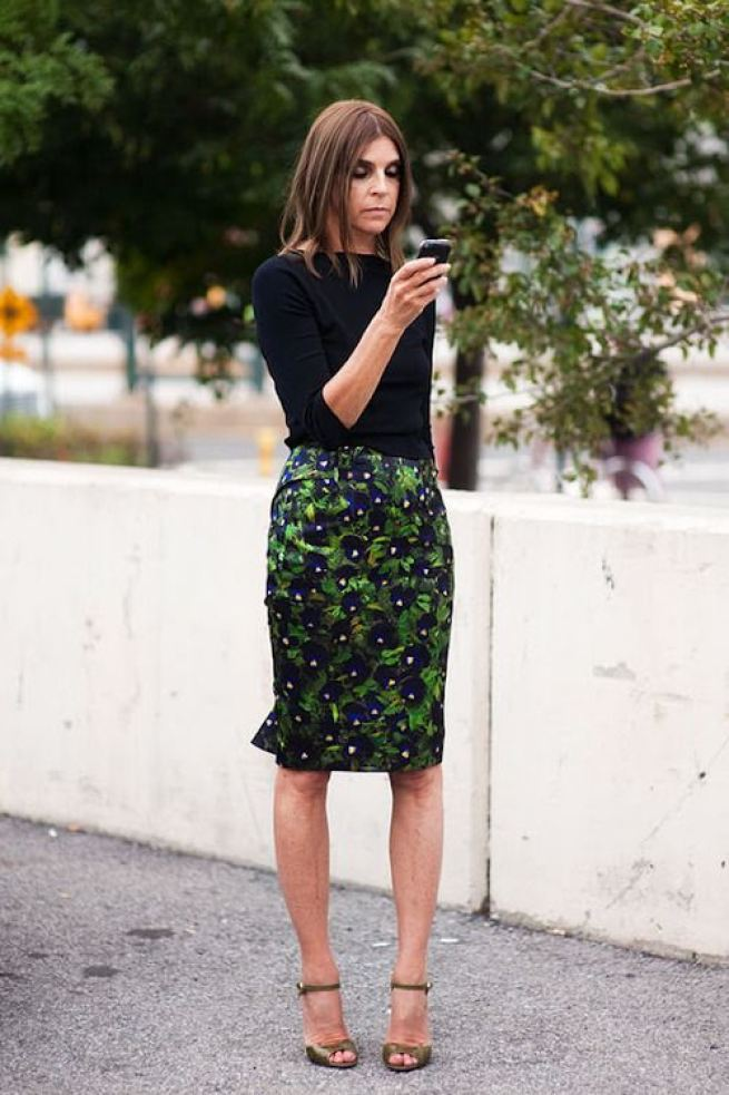 Carine Roitfeld Print pencil skirt green