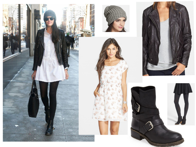 Dress $48   //     Leather Jacket $98   //     Boots $158.95   //     Tights $10   //     Beanie $24