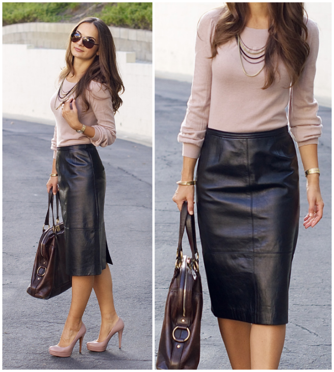 What To Wear With A Leather Skirt - Skirts