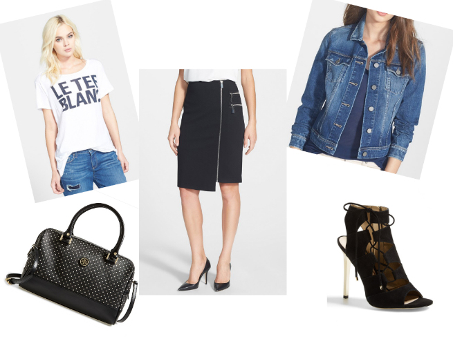 Tee $37.80    //    Bag $264.65    //    Skirt $59.40    //    Denim Jacket $156.75    //    Sandals $95.96