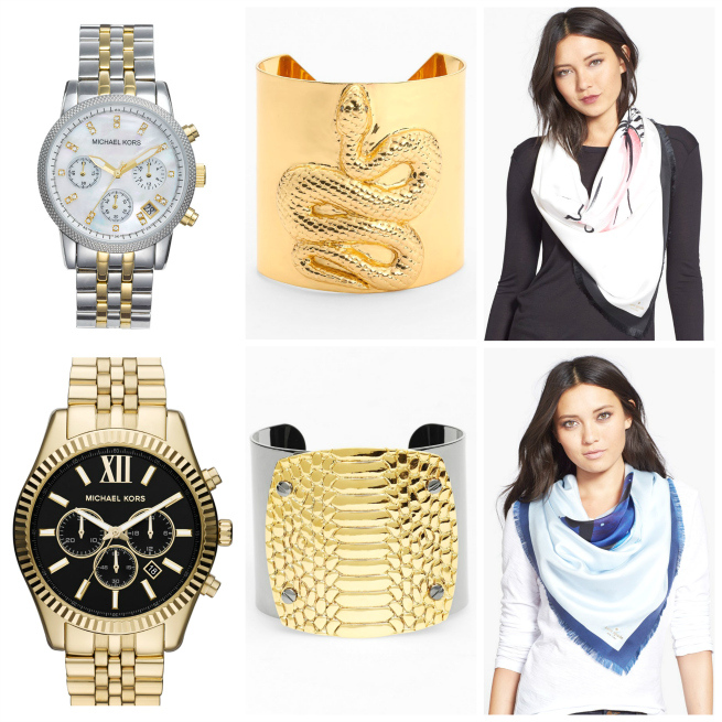 Watch $250 // Cuff $178 // Scarf $66.98 // Watch $275 // Cuff $66 // Scarf $66.98