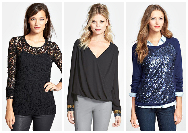 Wool Lace Top $97.98 // Beaded Blouse $68 // Embellished Sweatshirt $34.80