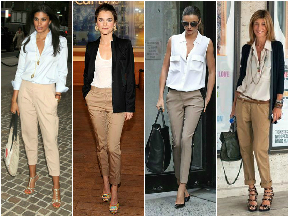 Khaki pants look best with a white top, but I have worn mine with a baby blue blouse like the first outfit. I love pairing it with a darker colored blazer either navy blue or black.