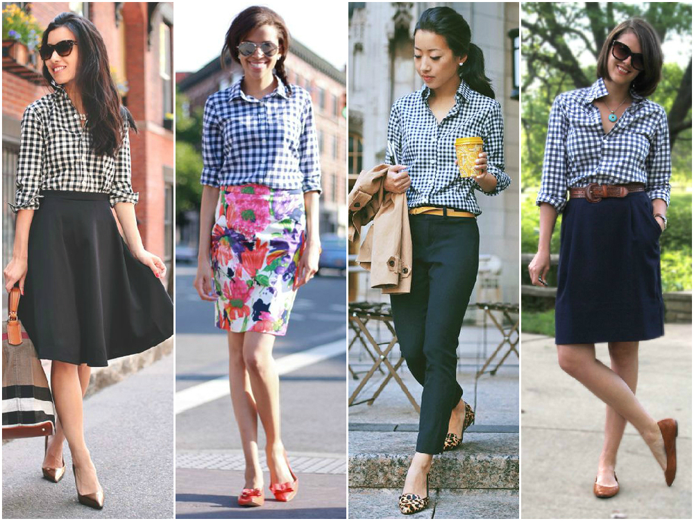I've been seeing lots of gingham and I love the black and white combination since I wear a lot of black. It's easy to pair with black slacks or a black skirt and change up the color of my accessories. I'm thinking to wear it with my red and tan shoes/bag combination and some fun accessories.