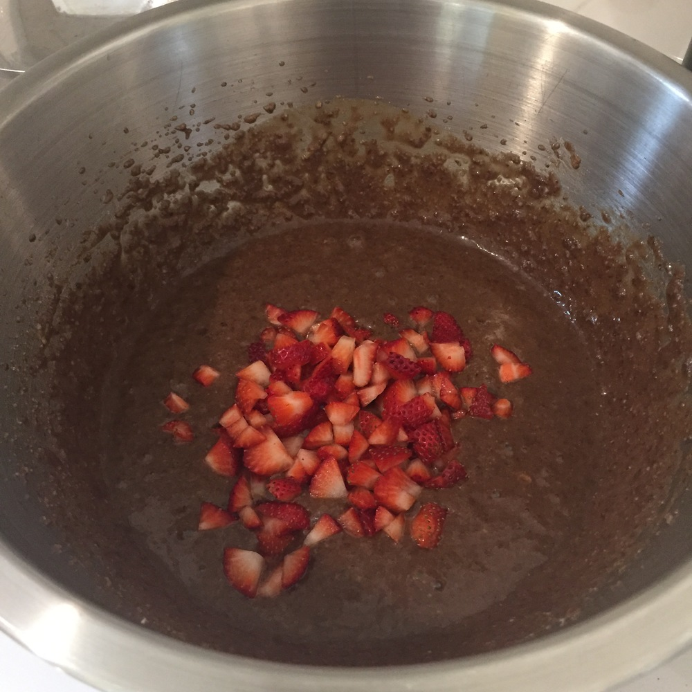 It's important to stir in the strawberries carefully at the end.