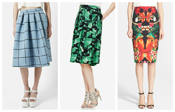 Topshop Skirt $105    //    Vince Camuto Skirt $99    //    Ted Baker London Skirt $248