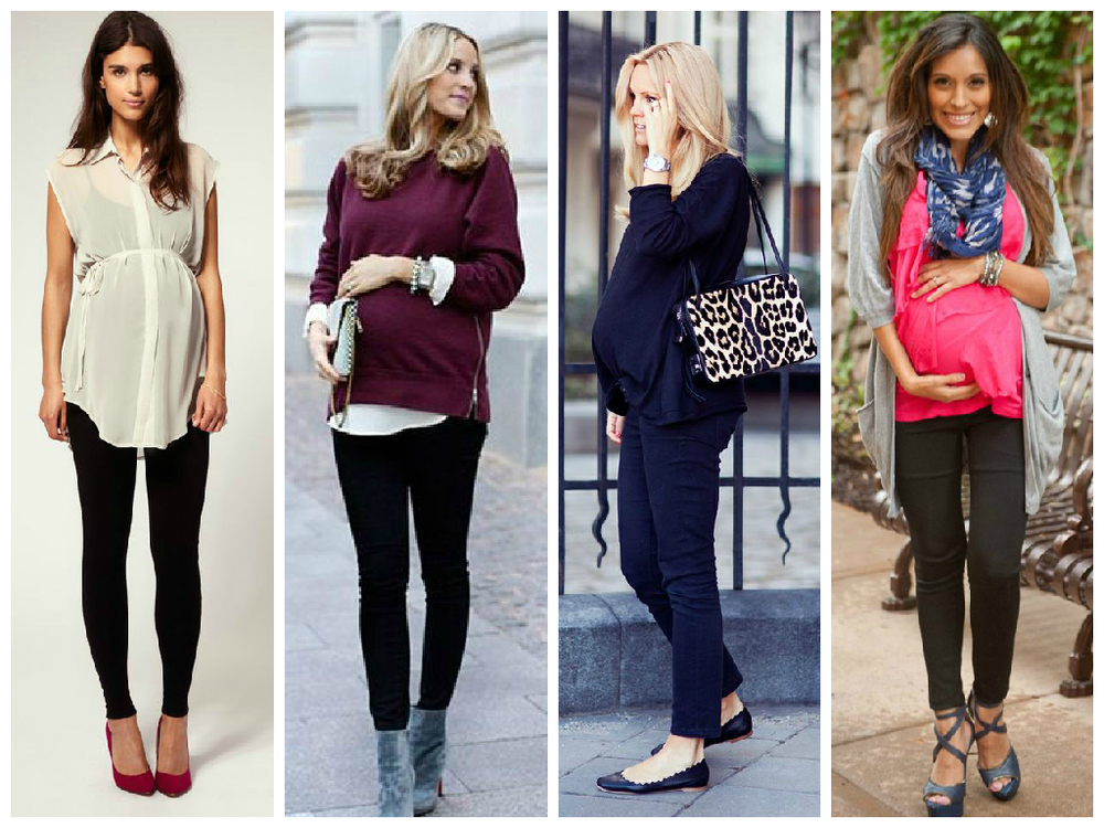 985a5f73f1042 Black pants for work are a must even when you are pregnant. The skinny type  look much better than wider leg ones. They are easy to pair with a larger  blouse ...