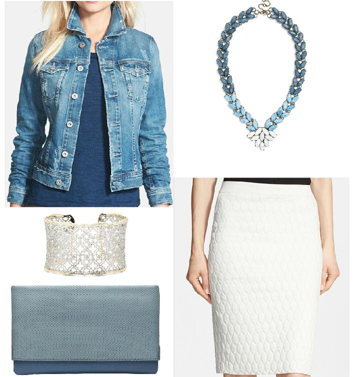 Jacket $255 // Necklace $58 // Bracelet $75 // Clutch $135 // Skirt $335