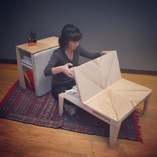 The Lola Collection: low-profile, transitional furniture for #sustainableliving in small spaces. Thanks @shar00n for modeling! More pictures coming soon. Made from Ash, Maple Veneer, and Birch Ply. #risd #risdid #woodworking #furnituredesign #sustainability #handmade #industrialdesign