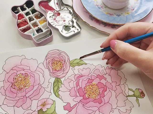 Free Adult Coloring Page of Peonies by Jessica Mack of BrownPaperBunny