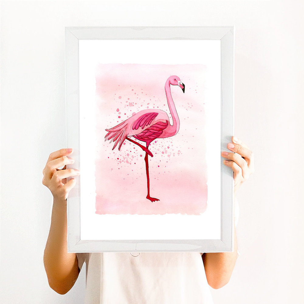 Flamingo art print watercolor by BrownPaperBunny