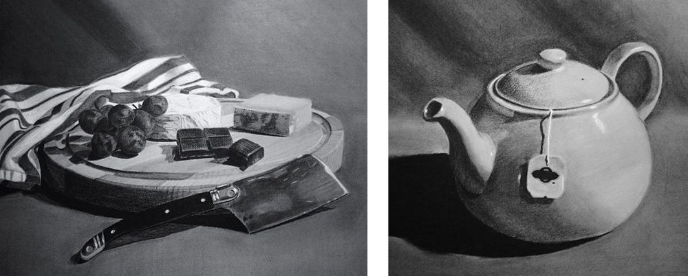 Charcoal Still Life Studies by BrownPaperBunny