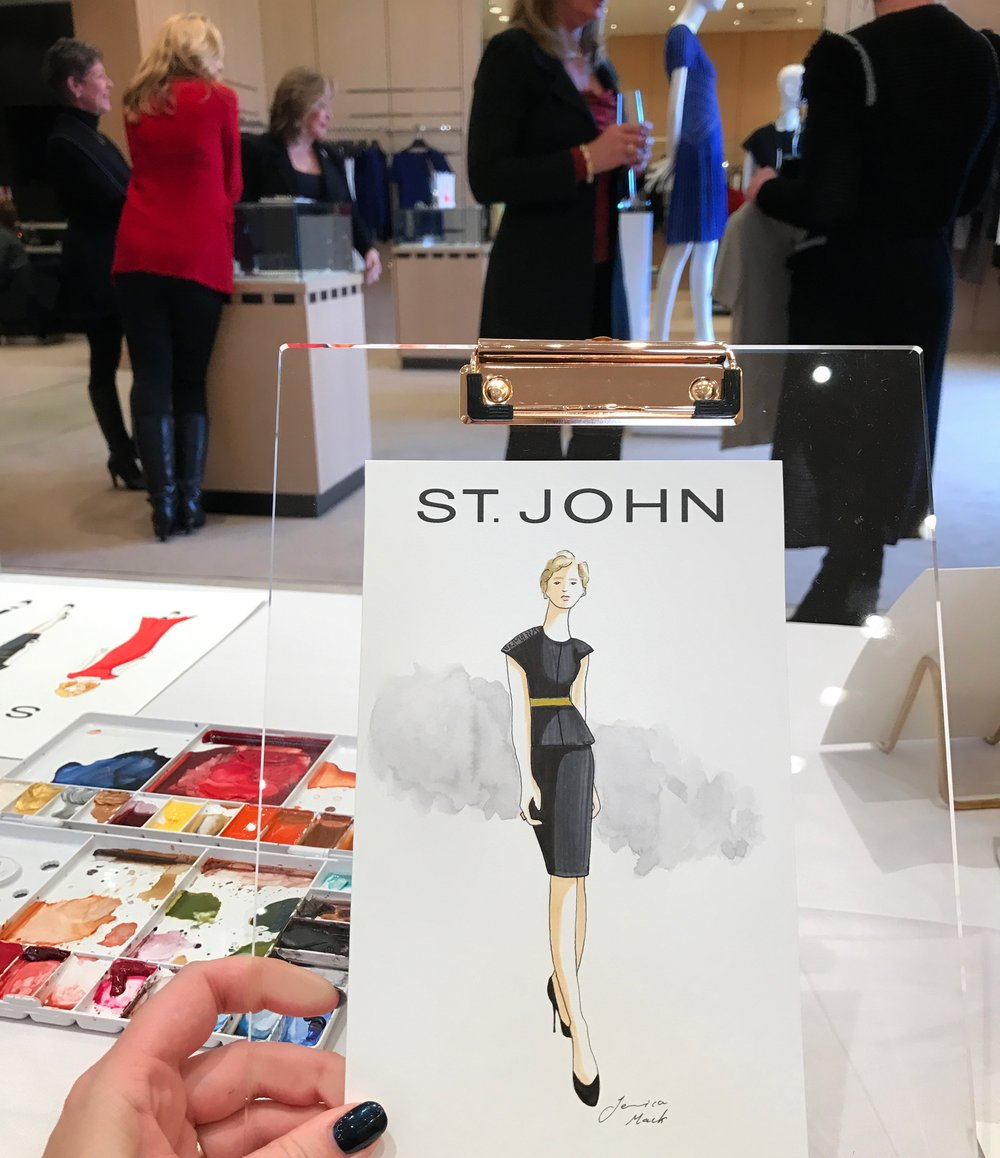 St John Knits Live Fashion Sketch Event