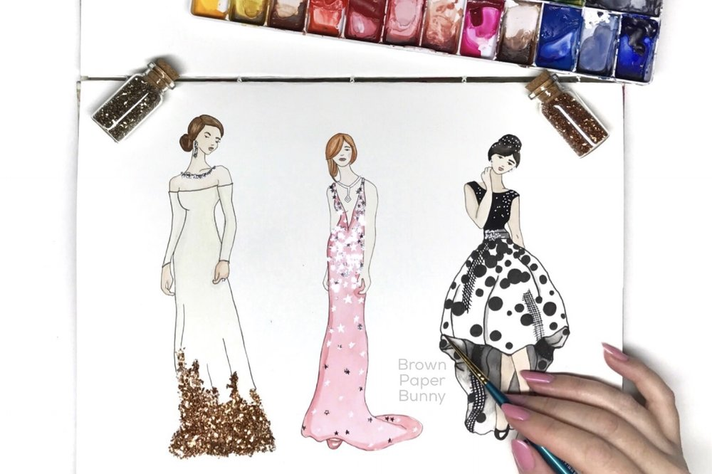 Golden Globes Fashion Illustration by BrownPaperBunny