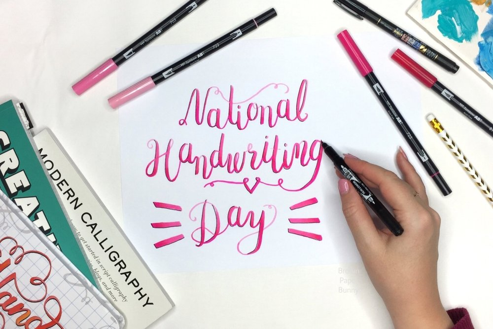 National Handwriting Day - Bounce Lettering with Tombow Brush Markers