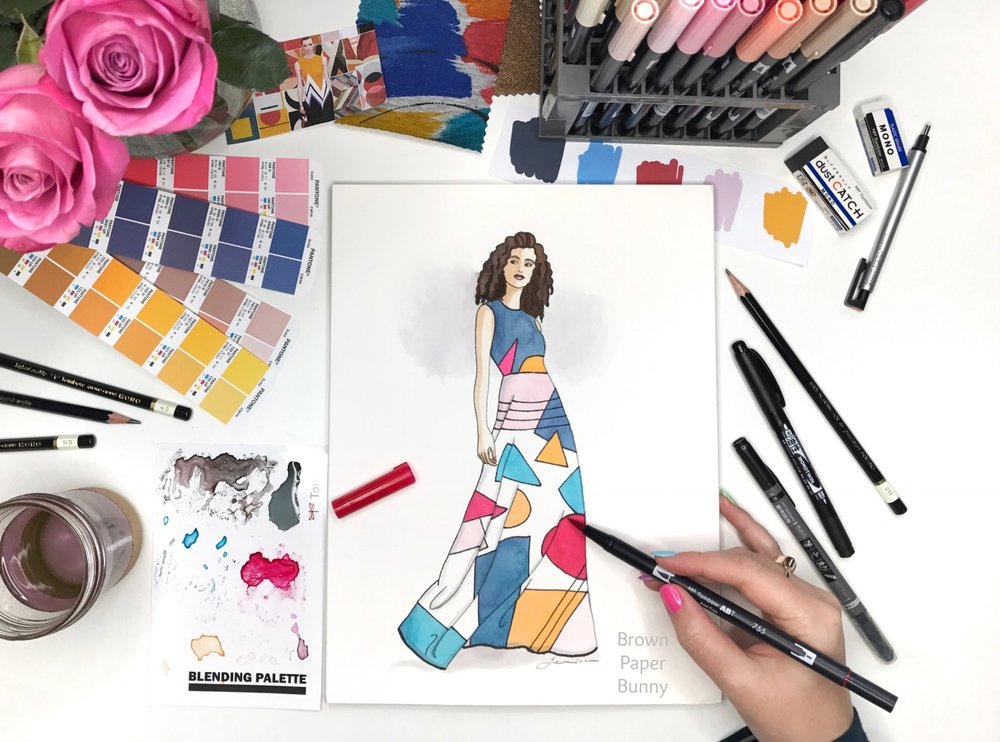 New York Fashion Week Fashion Illustration by BrownPaperBunny