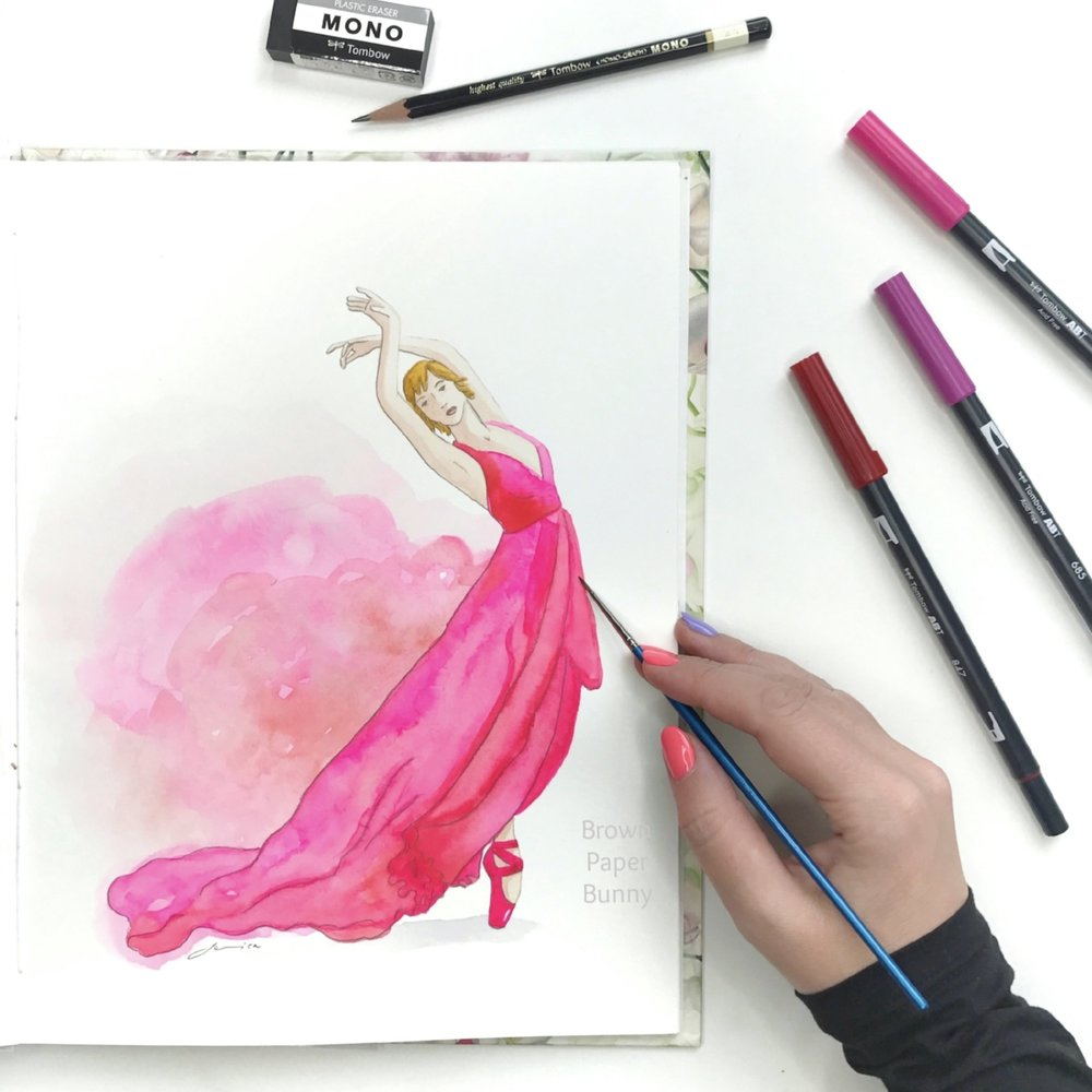 Watercolor ballerina by BrownPaperBunny