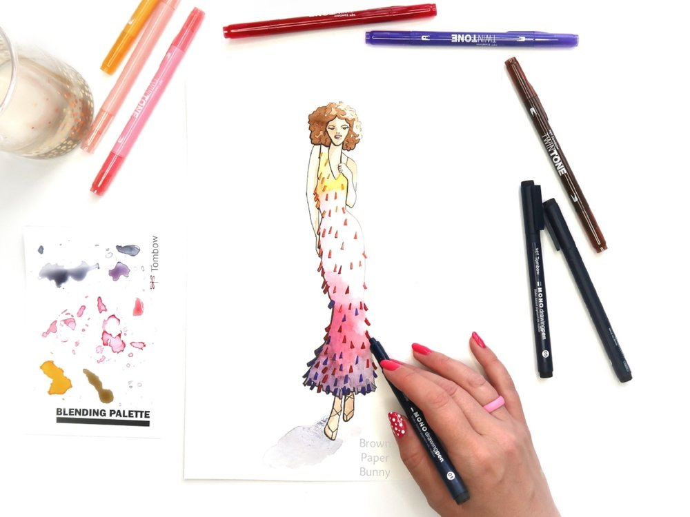 Fashion Illustration with Tombow TwinTone Markers