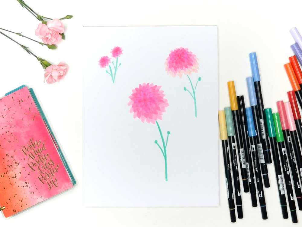 6 Easy Flowers To Draw With Tombow Markers Brown Paper Bunny Studio