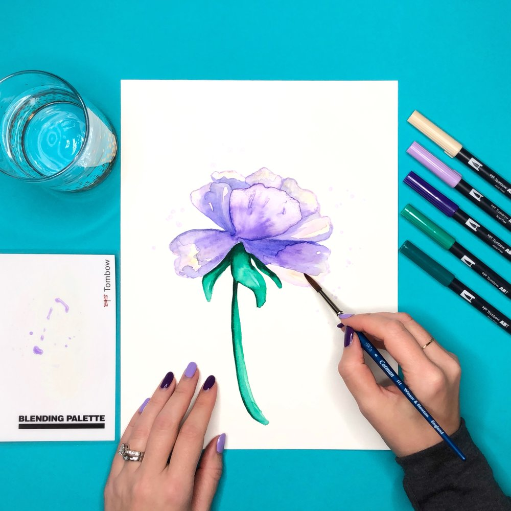 How to Create Watercolor Flowers with Tombow Dual Brush Pens by Jessica Mack of BrownPaperBunny