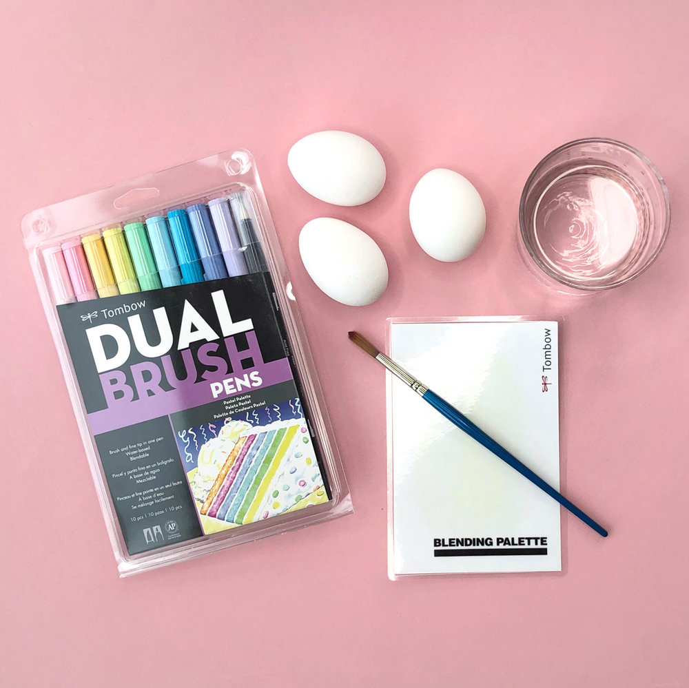 Watercolor easter eggs using Tombow Dual Brush Pens by Jessica Mack of BrownPaperBunny