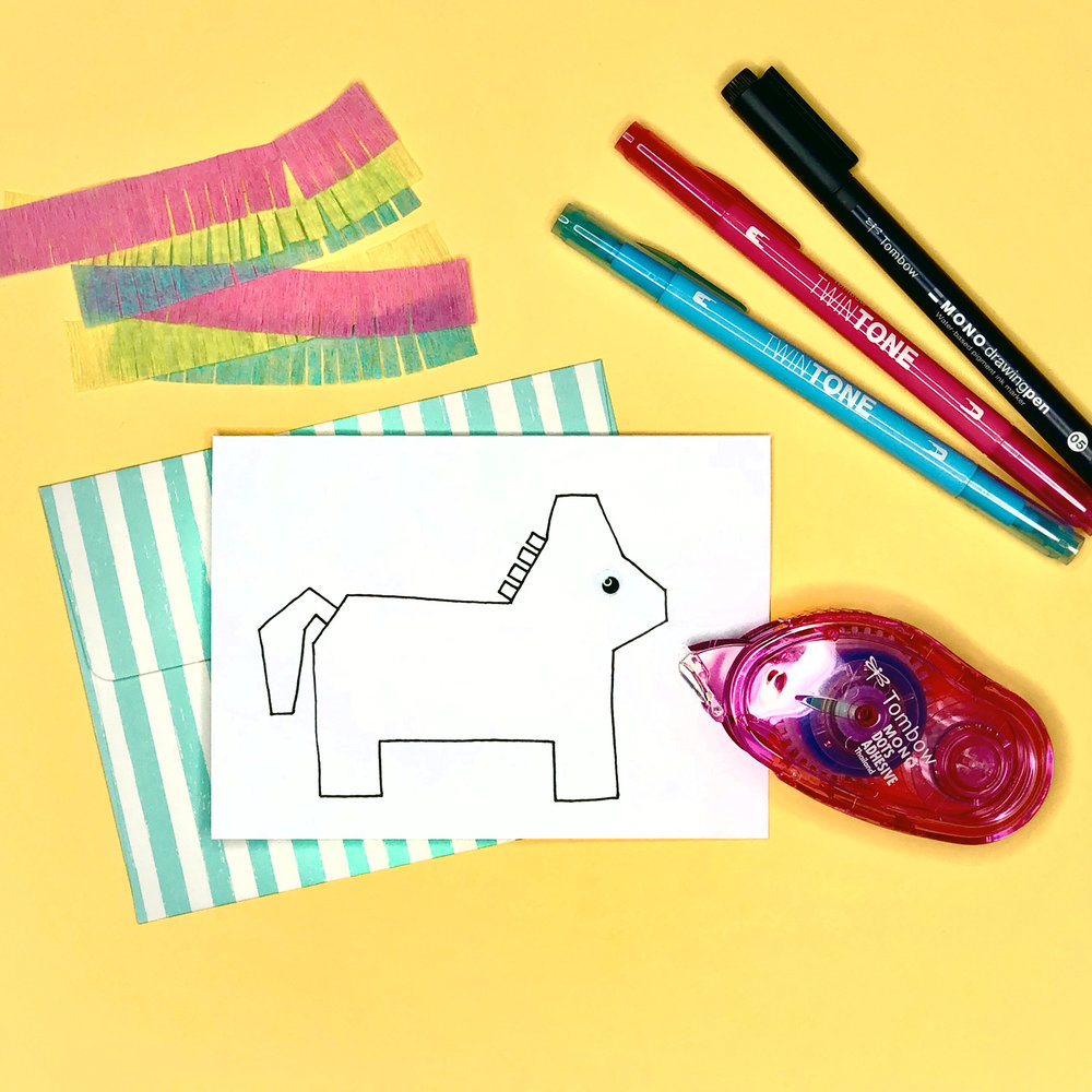 How to Make a Pinata Card by Jessica Mack of BrownPaperBunny