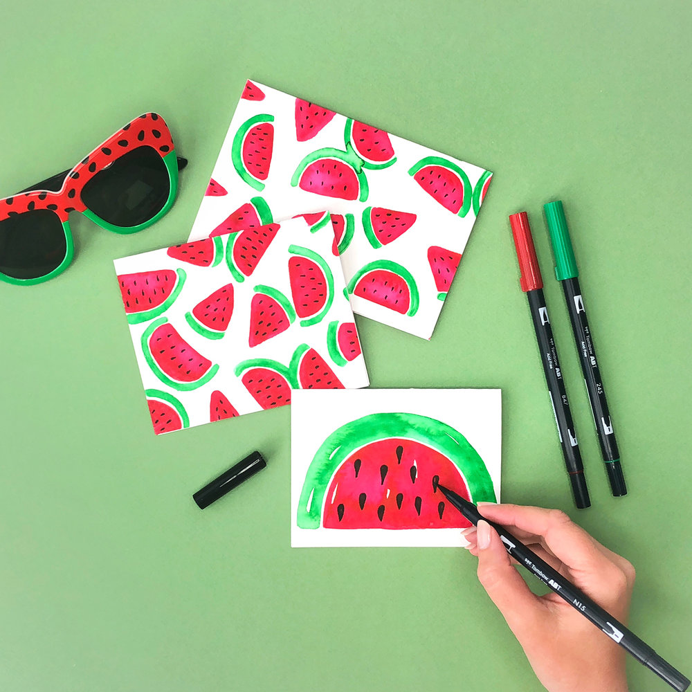 Watercolor Watermelons by Jessica Mack of BrownPaperBunny