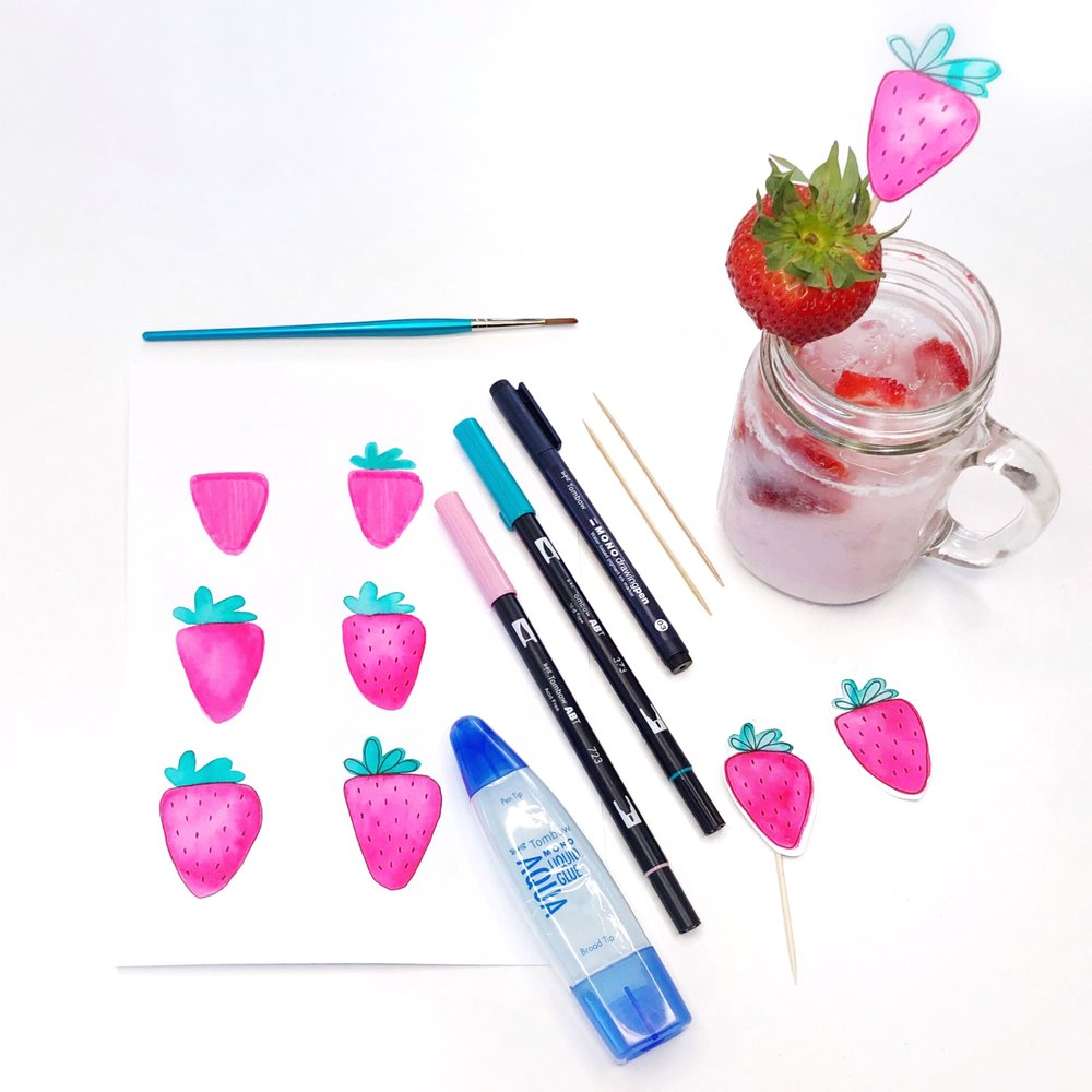 How to make drink umbrellas, mermaid straws, and strawberry drink toppers by Jessica Mack of BrownPaperBunny