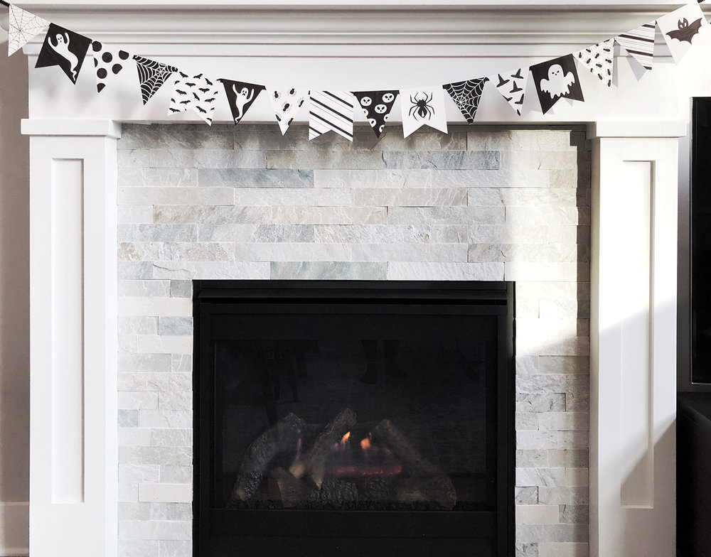 DIY Black and White Halloween Banner by Jessica Mack of BrownPaperBunny