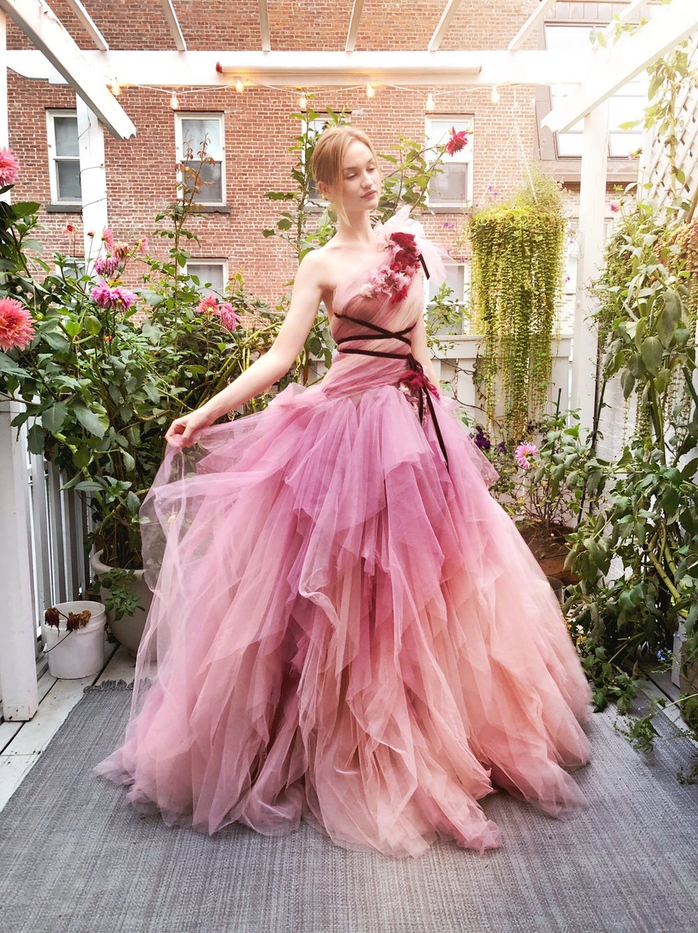 Clara McSweeney in Marchesa in PaperFashion's Studio Garden. Photo by Jessica Mack of BrownPaperBunny
