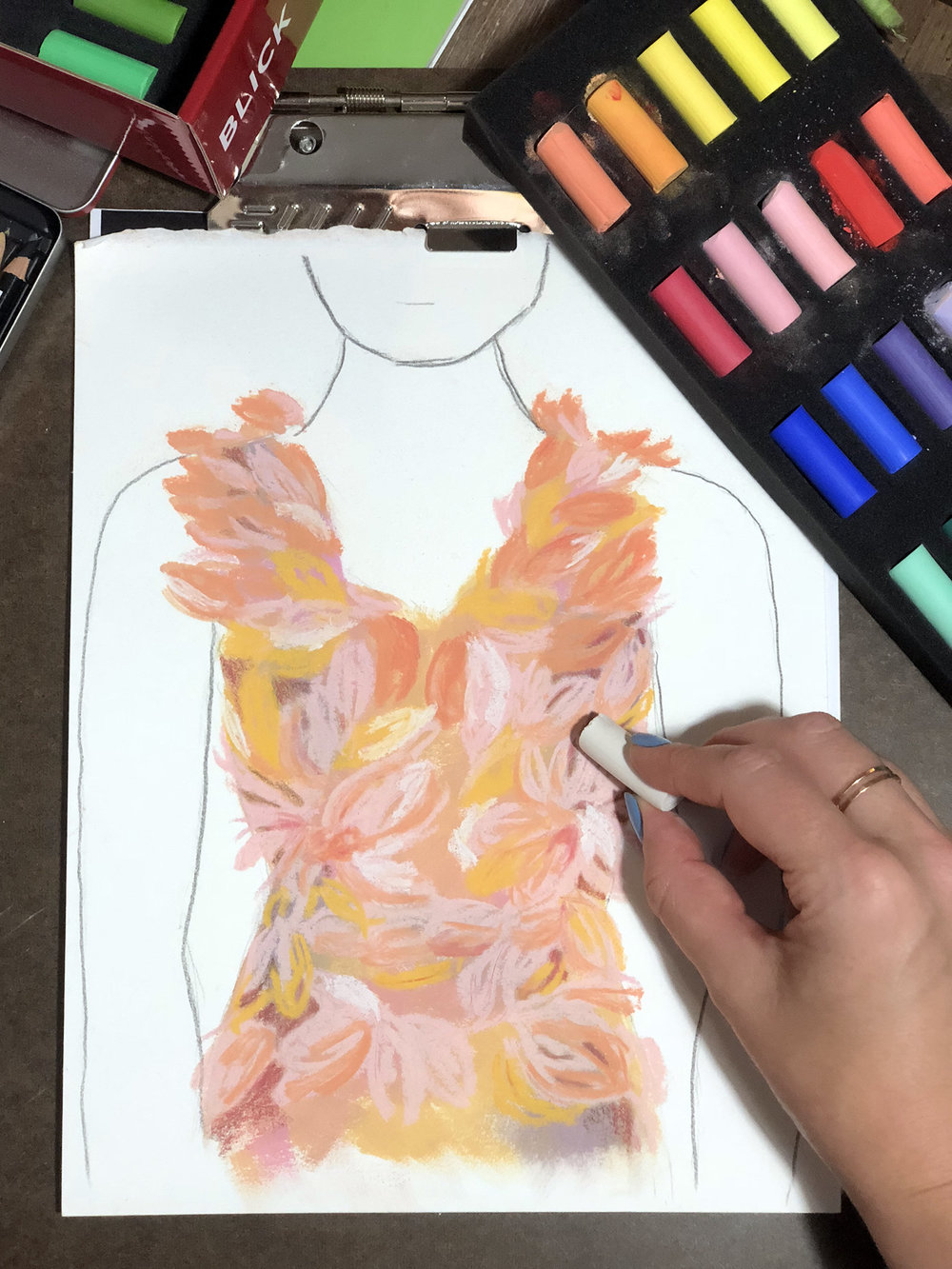 Working on a Marchesa piece in pastel