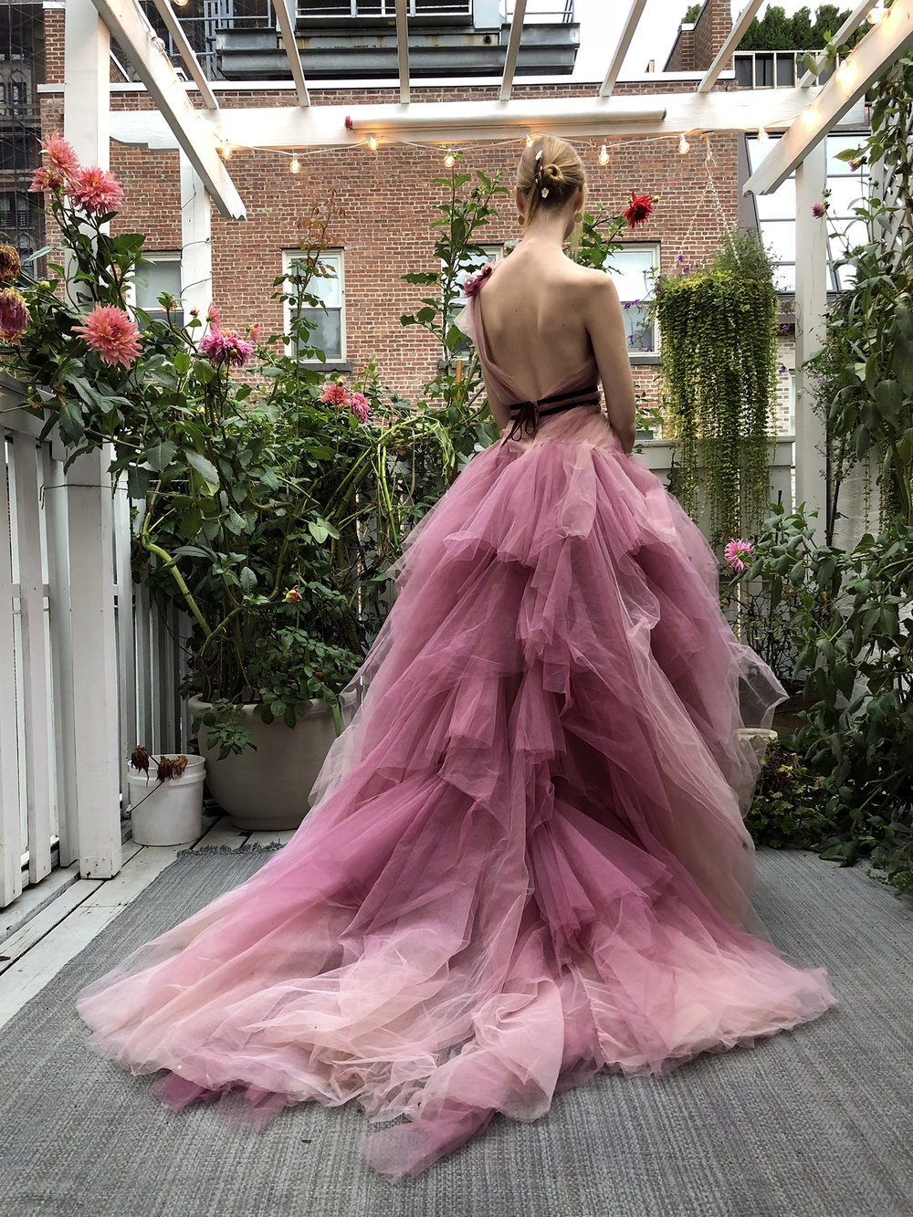 The impossibly tall and gorgeous  Clara McSweeny , wearing a stunning  Marchesa  gown.