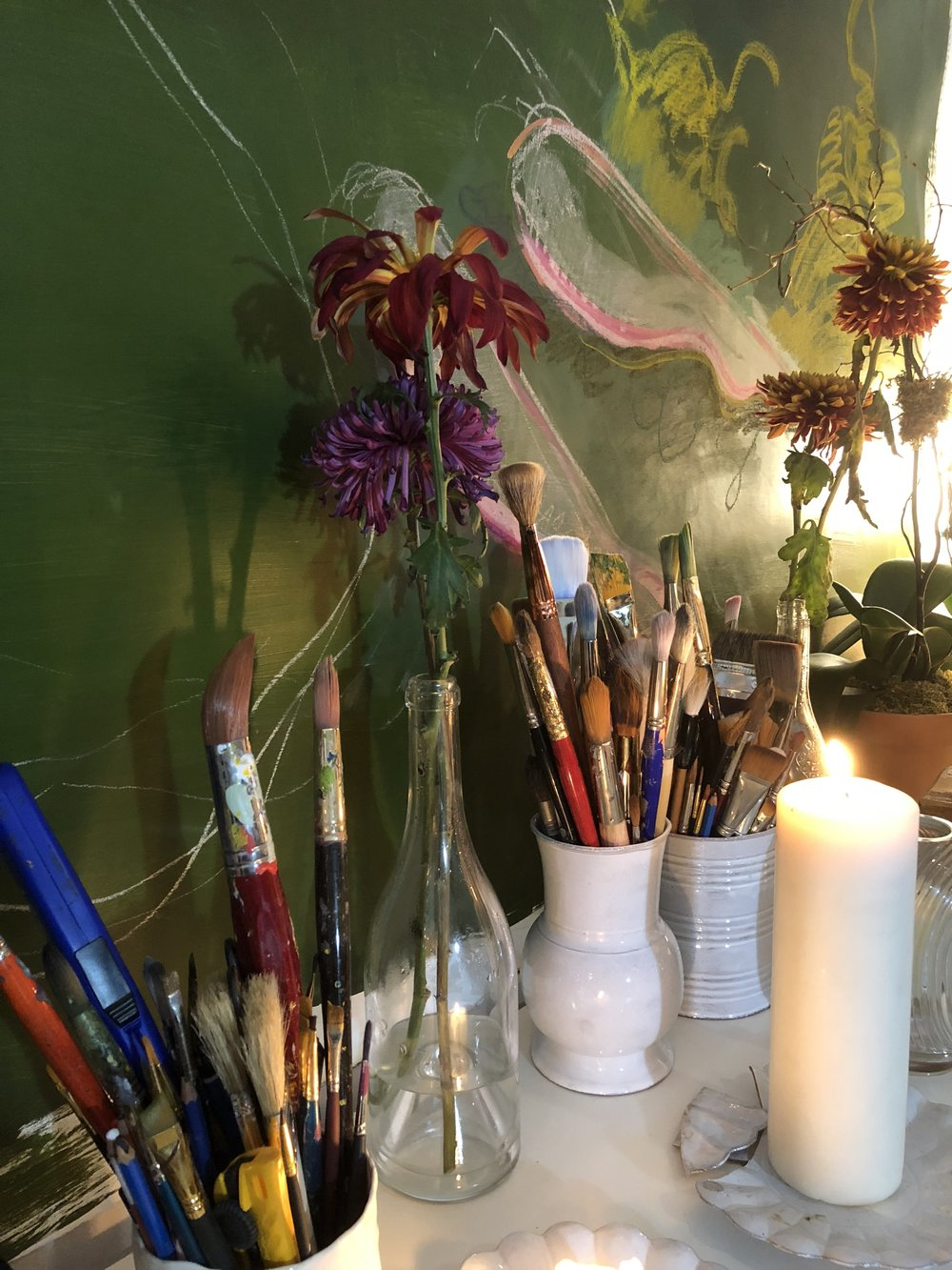 Katie's  studio is such an inspirational and colorful place to work