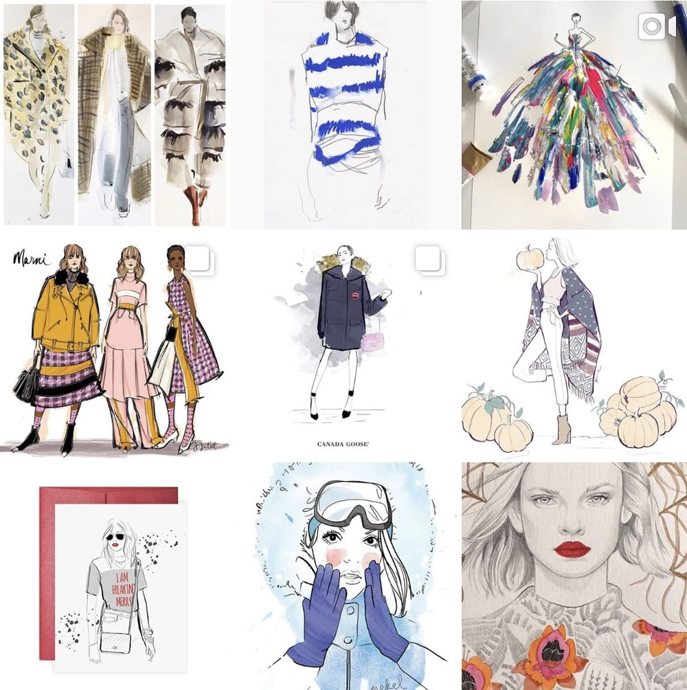 10 of the Best Fashion Illustrators to Follow on Instagram. List by Jessica Mack of BrownPaperBunny