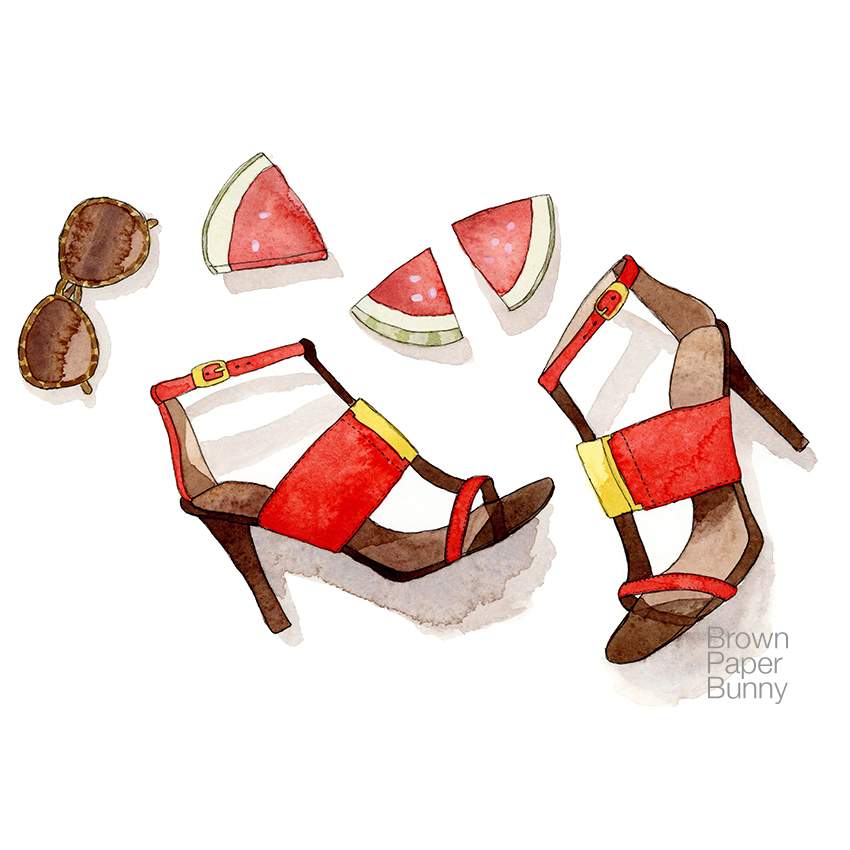 Watercolor sandals, created for licensing.