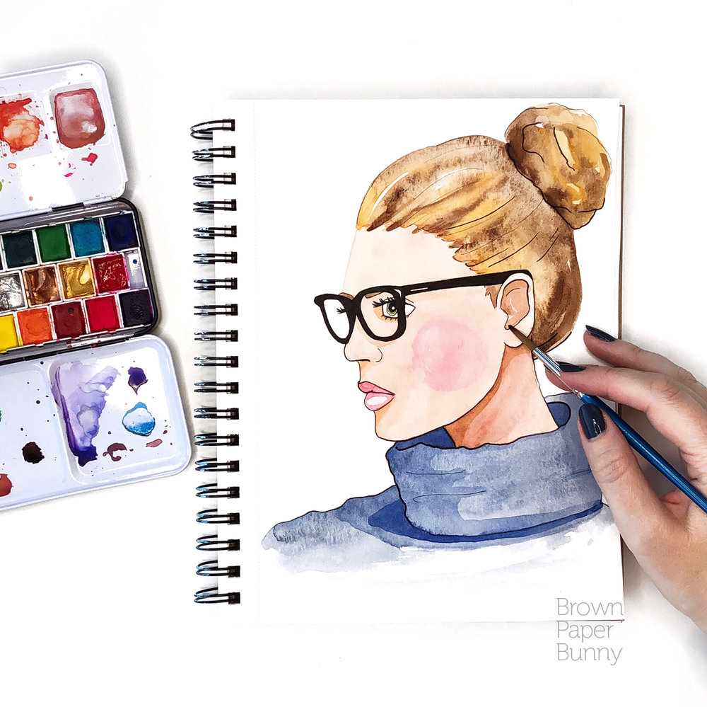 Watercolor portrait created on behalf of Prima Watercolors.