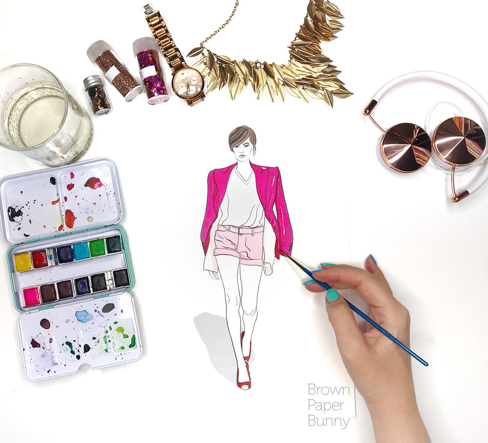 Watercolor fashion illustration, created for Prima Watercolor.