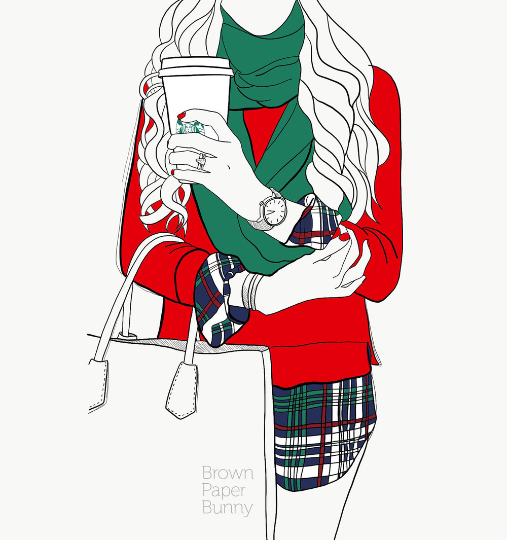 Digital fashion illustration, personal holiday project.