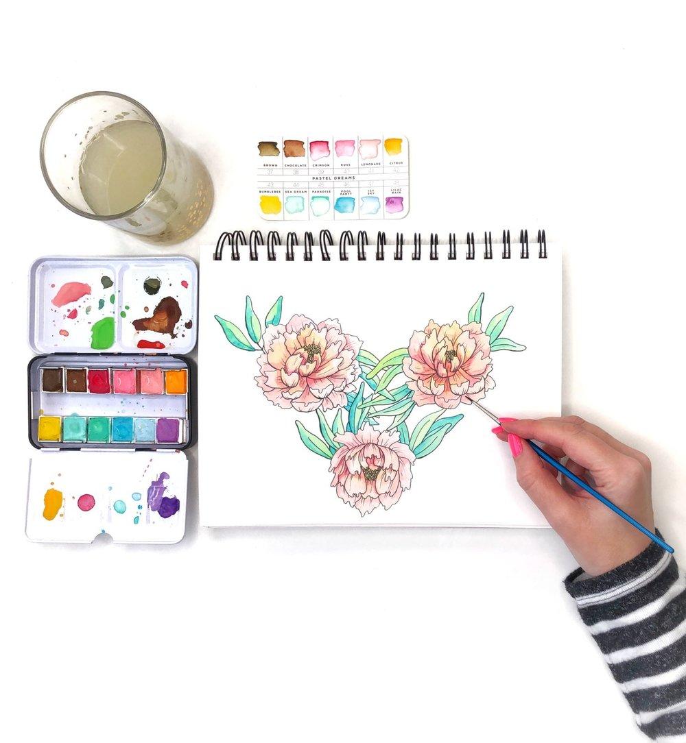 Watercolor flowers by Jessica Mack of BrownPaperBunny