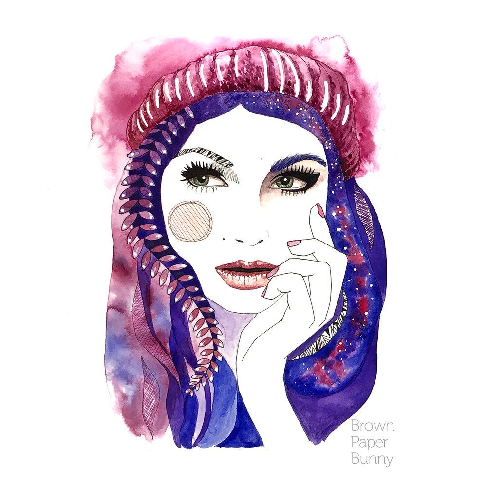 Watercolor portrait created for Prima Watercolors.